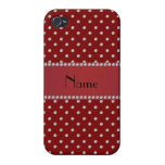 Personalized name red diamonds iPhone 4 cover