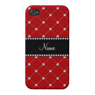 Personalized name Red diamonds Case For iPhone 4
