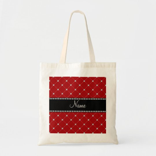 Personalized name Red diamonds Tote Bag