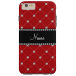 Personalized name red diamonds tuft tough iPhone 6 plus case