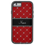 Personalized name red diamonds tuft iPhone 6 case