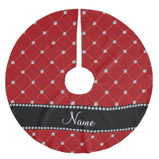 Personalized name red diamonds tuft brushed polyester tree skirt