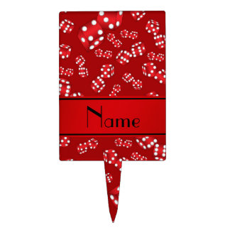 Personalized name red dice pattern cake toppers