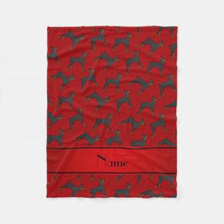 Personalized name red doberman pinschers fleece blanket