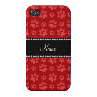 Personalized name red dog paw prints iPhone 4/4S case
