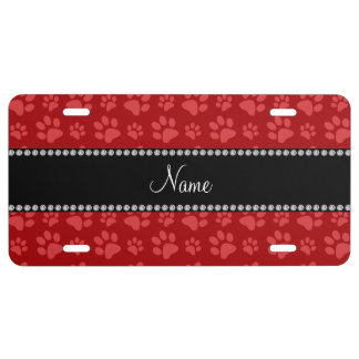Personalized name red dog paw prints license plate