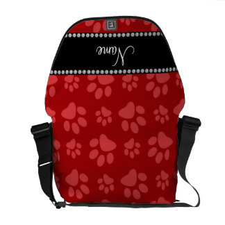 Personalized name red dog paw prints messenger bag