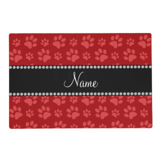 Personalized name red dog paw prints placemat