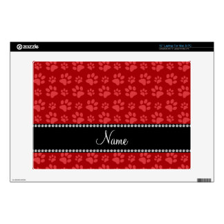 Personalized name red dog paw prints laptop skins