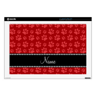 Personalized name red dog paw prints skin for laptop