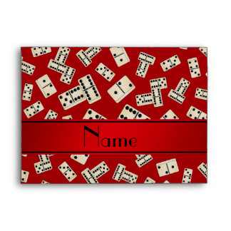 Personalized name red dominos envelopes