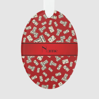 Personalized name red dominos ornament