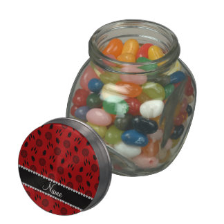Personalized name red dreamcatchers glass candy jars