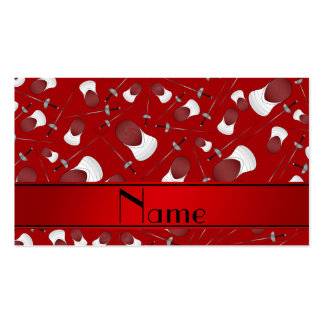 Personalized name red fencing pattern Double-Sided standard business cards (Pack of 100)