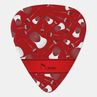 Personalized name red fencing pattern guitar pick
