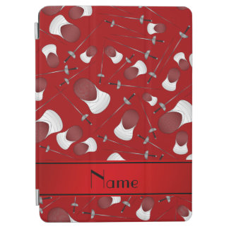 Personalized name red fencing pattern iPad air cover