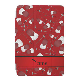 Personalized name red fencing pattern iPad mini cover