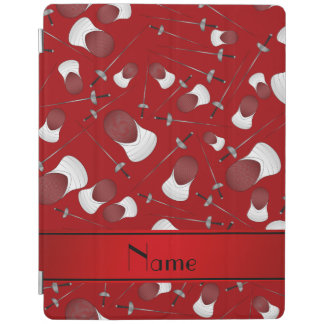 Personalized name red fencing pattern iPad cover
