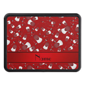 Personalized name red fencing pattern tow hitch cover