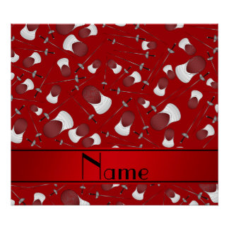 Personalized name red fencing pattern poster