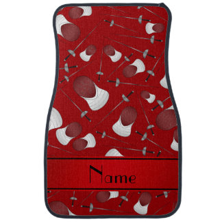 Personalized name red fencing pattern floor mat