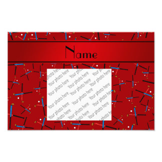 Personalized name red field hockey pattern art photo