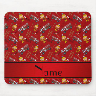 Personalized name red firemen trucks ladders mouse pad