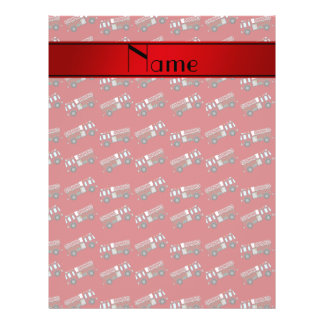 "Personalized name red firetrucks 8.5"" x 11"" flyer"