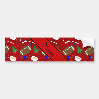 Personalized name red football christmas bumper stickers