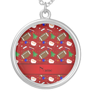 Personalized name red football christmas necklaces