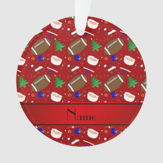 Personalized name red football christmas ornament