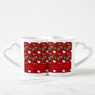 Personalized name red football christmas couples' coffee mug set