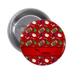Personalized name red football christmas pins