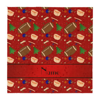 Personalized name red football christmas coaster