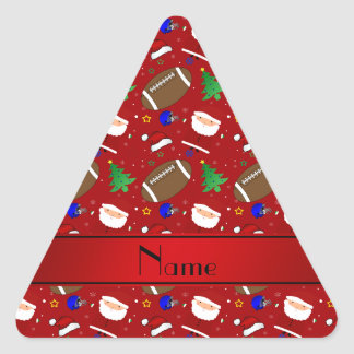 Personalized name red football christmas triangle sticker