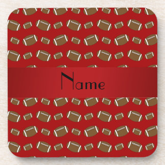 Personalized name red footballs drink coaster