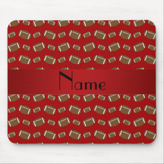 Personalized name red footballs mouse pad