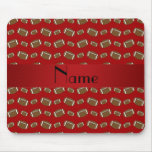Personalized name red footballs mousepads