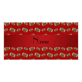 Personalized name red footballs photo greeting card