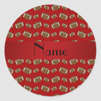 Personalized name red footballs classic round sticker