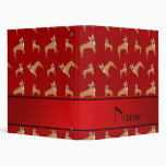 Personalized name red french bulldogs binder