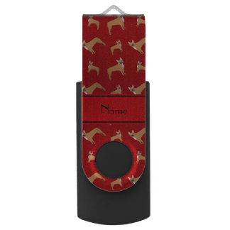 Personalized name red french bulldogs swivel USB 2.0 flash drive