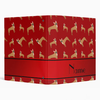 Personalized name red french bulldogs vinyl binders