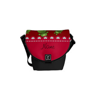 Personalized name red frogs messenger bag