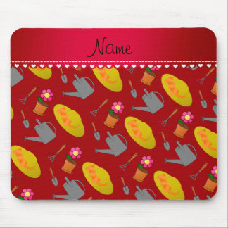 Personalized name red gardening flowers mouse pad