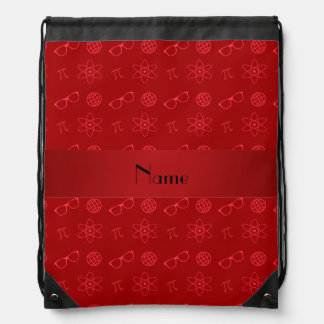 Personalized name red geek pattern drawstring bags