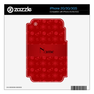 Personalized name red geek pattern skin for the iPhone 3GS