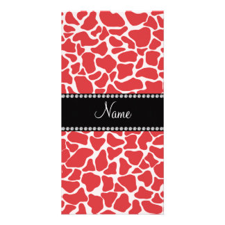 Personalized name red giraffe pattern photo card