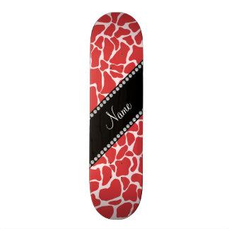 Personalized name red giraffe pattern skate board