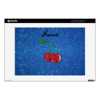 Personalized name red glitter cherry blue glitter laptop decals